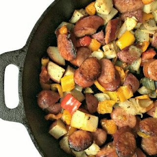Kielbasa Skillet Dinner with Potatoes & Peppers.