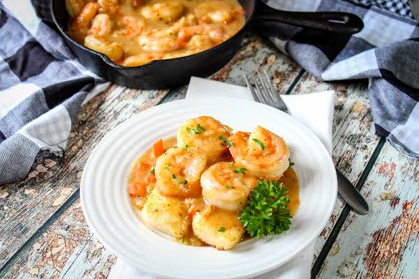 A Plate Of Shrimp And Grits.