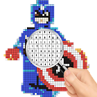 Color by number Superhero pixel art icon