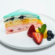 Rainbow Warhol Mille-Crêpe Cake (Mango, Strawberry, Blueberry Slice) 🥭