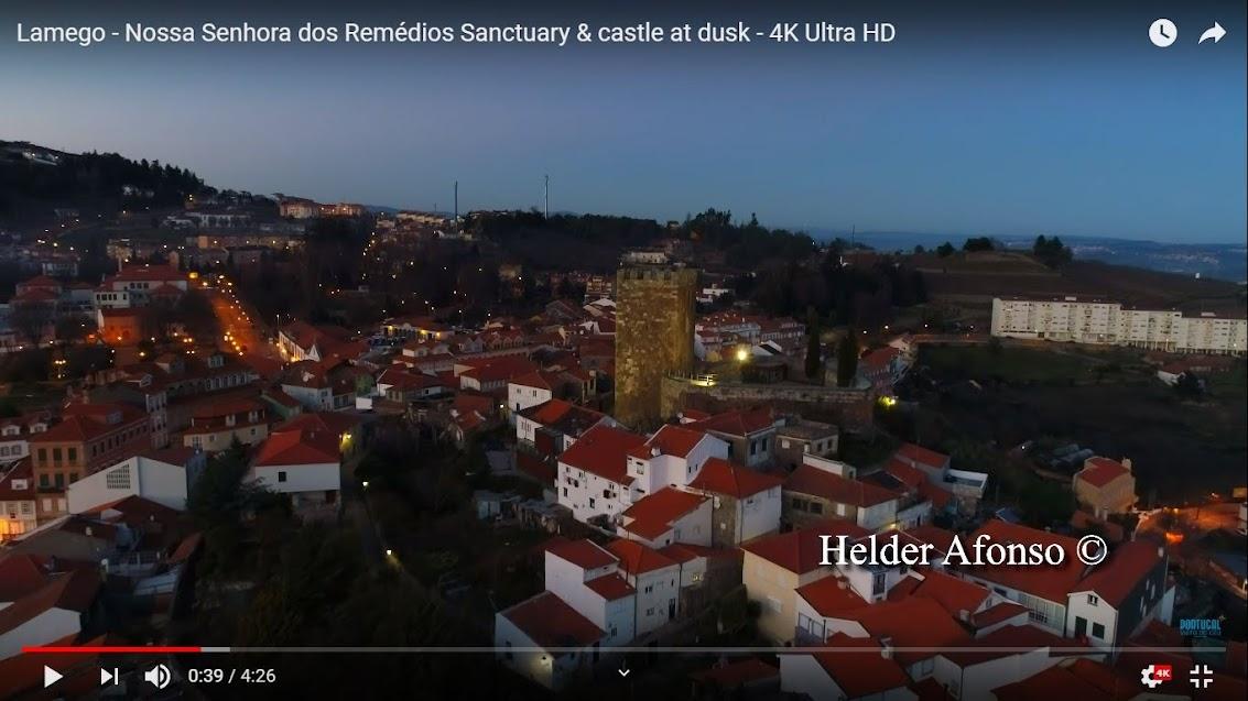 Vídeo - Santuário de Nossa Senhora dos Remédios e Castelo de Lamego ao anoitecer