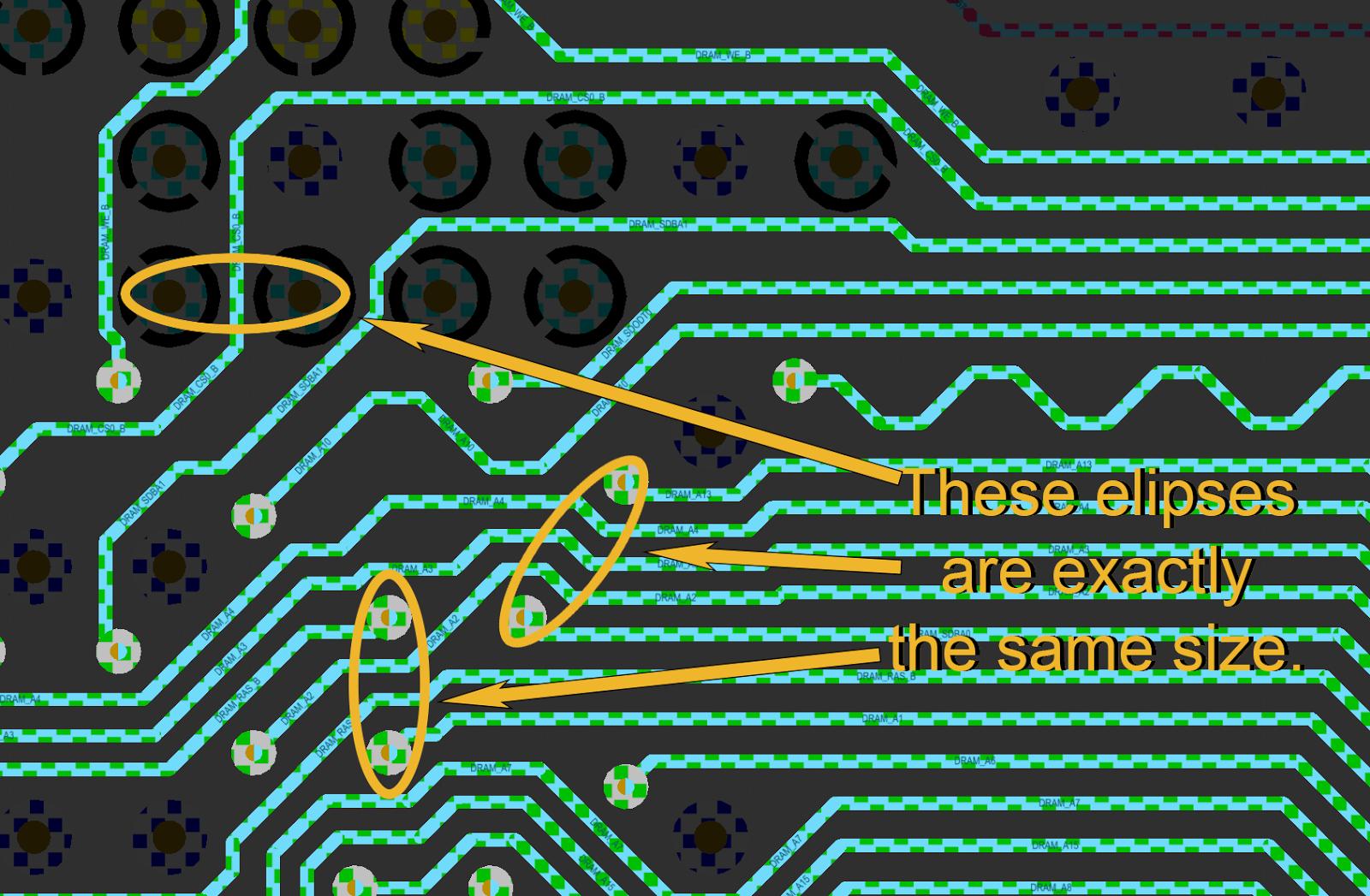 Abbildung 5: Zwei oder drei Leiterbahnen passen zwischen Mikrodurchkontaktierungen im gleichen Bereich, der für eine Leiterbahn zwischen Durchgangskontaktierungen beim DDR3-Routing benötigt wird.