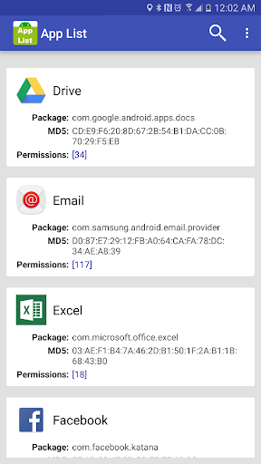 App List Package MD5 Permissio app (apk) free download for Android/PC/Windows screenshot