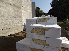 Photo: Blocks are stuffed with free fiberglass insulation. Also a by product given to us by INSA.