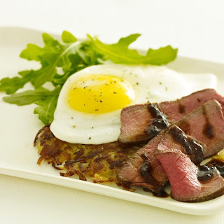 Steak and Eggs with Potato Rosti and Asian Steak Sauce.