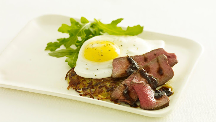 Steak and Eggs with Potato Rosti and Asian Steak Sauce Recipe
