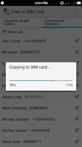 Copy to SIM Card screenshot 4