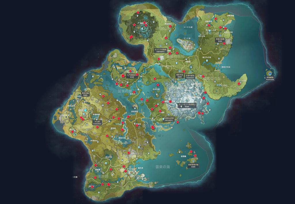 ヒルチャール暴徒の出現場所マップ