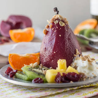 Sangria Poached Pears with Cinnamon Oat Crumble.