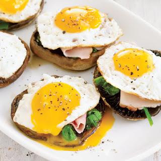 Portobello Mushrooms with Ham and Eggs.