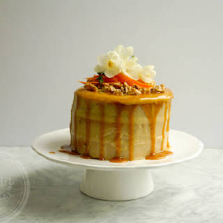 Healthy Carrot Cake with Cashew Frosting and Maple Caramel (dairy-free, low sugar, vegan option, low gluten, gluten-free option).