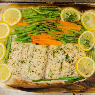 Parchment Cooked Halibut in Olive Oil with Green Beans and Carrots.