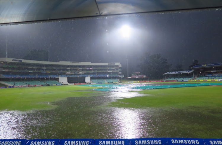 General views of the venue after persistent rain during the RAM SLAM T20 Challenge match between Hollywoodbets Dolphins and Warriors at Sahara Stadium Kingsmead on November 22, 2017 in Durban, South Africa.