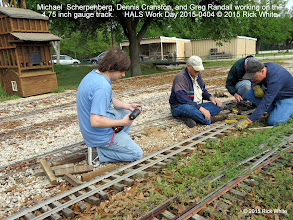 Photo: Michael  Scherpenberg, Dennis Cranston, and Greg Randall working on the 4.75 inch gauge track.     HALS Work Day 2015-0404 © 2015 Rick White