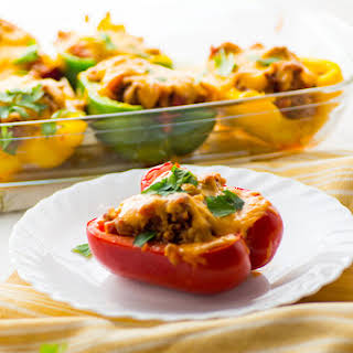 Keto Stuffed Peppers with cheese on top.