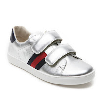 Gucci Leather Web Trainer Junior JUNIOR VELCRO