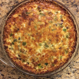 Turkey Bacon Breakfast Quiche with a Hash Brown Crust