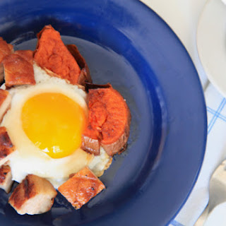 Pork Belly with Sweet Potatoes and Fried Eggs.