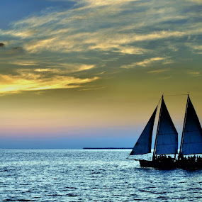 Sailing Away by Colleen Rohrbaugh - Landscapes Waterscapes ( waterscape, sailing, boats, transportation, travel,  )