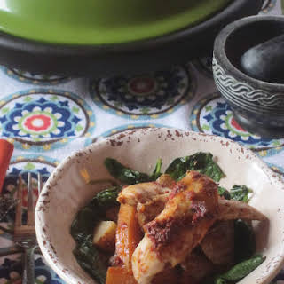 Chicken with Tomato and Pepper Paste Cooked in a Tagine.
