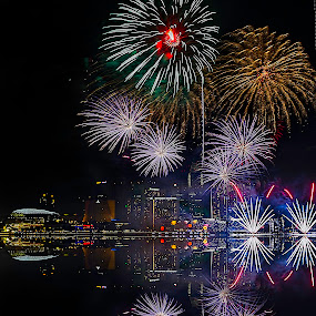 holiday celibration by Senthil Damodaran - Public Holidays Other ( holiday, fireworks, ndp firework rehearsal, celebration, night, lights )