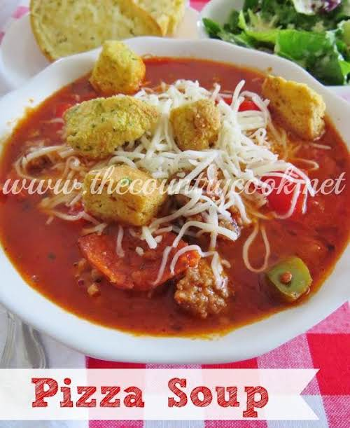 """Pizza Soup """"It really has all the flavors of your favorite pizza,..."""