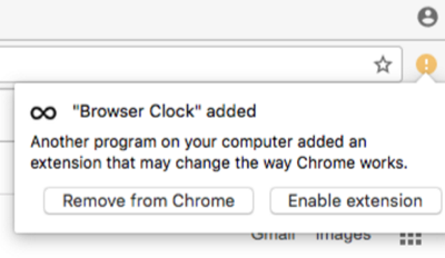 Alert box to enable a Chrome extension on a Mac