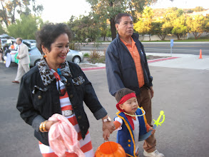 Photo: Horray!  Let's go to Trunk or Treat! Justin with Lolo and Lola