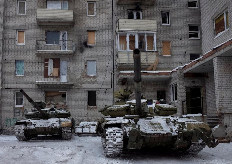 Tanks are seen in the government-held industrial town of Avdiyivka, Ukraine, February. Picture: REUTERS