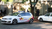 File photo of a Hawks vehicle during a raid on the Gupta compound in Saxonwold, Johannesburg.