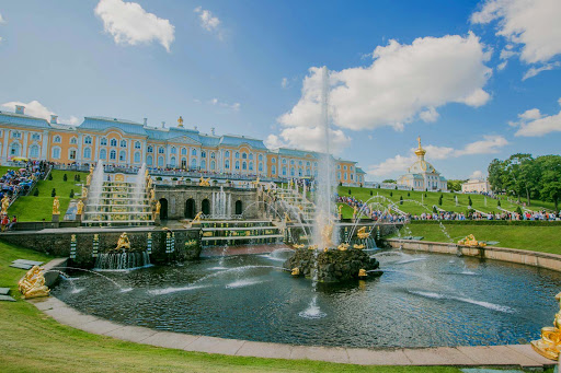 The cascade at Peterhof Palace begins mornings at 11 a.m. near St. Petersburg, Russia.