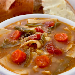 Crock Pot Chicken Noodle Vegetable Soup.