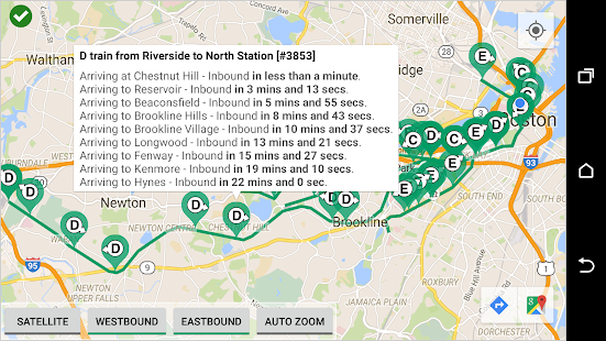 MBTA Green Line Tracker- screenshot thumbnail