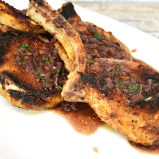 Pork Chops with Cherry Wine Sauce.