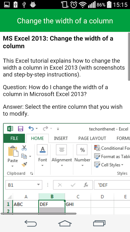 Learn Excel Tutorial Free- screenshot