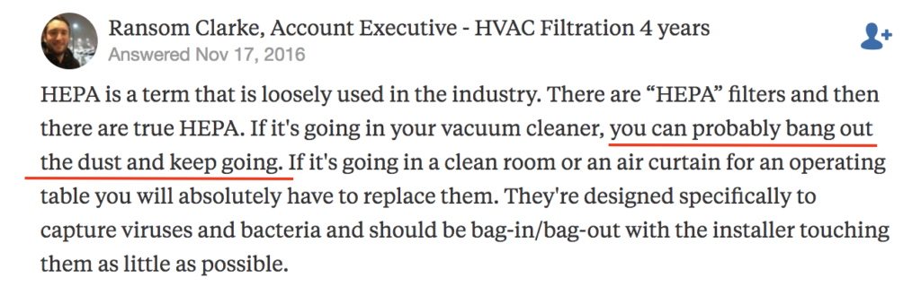 Expert explains you can clean a HEPA filter by banging out dust