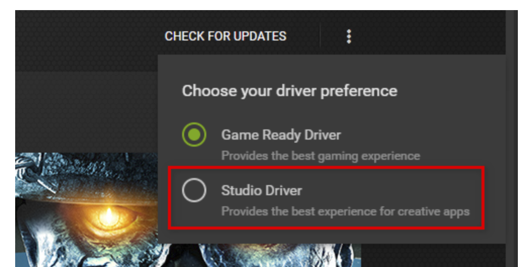 Change the driver preference from Game Ready Driver to Studio Driver.