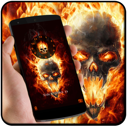 Flame theme burn fire skull