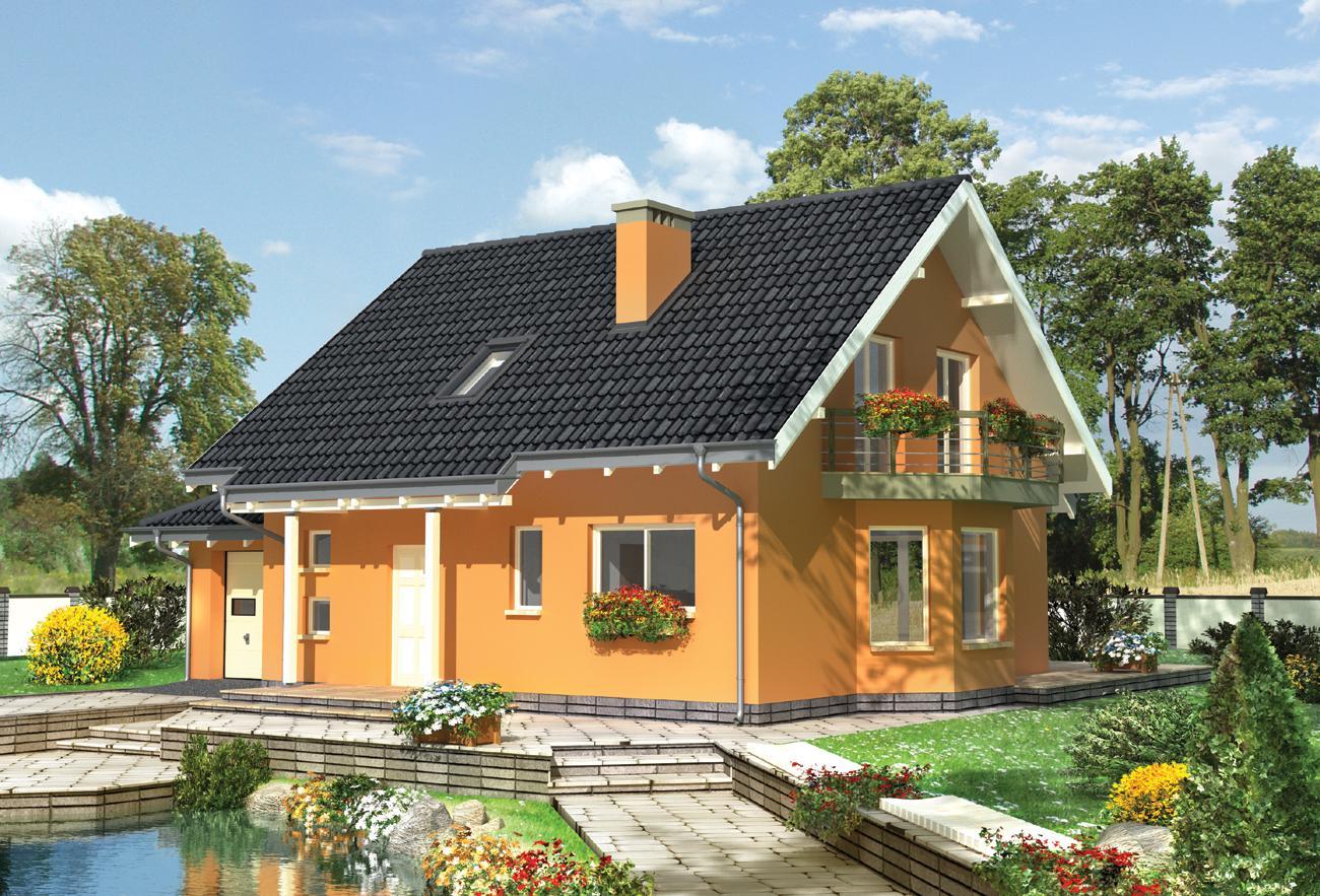 Проекты небольших домов с балконом..