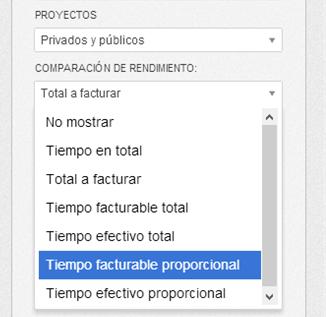 Configuración de filtros en el informe de proyecto.