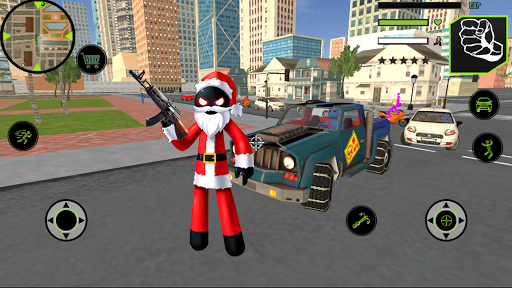 Code Triche Santa Claus Stickman Rope Hero Gangstar Crime APK MOD (Astuce) screenshots 1