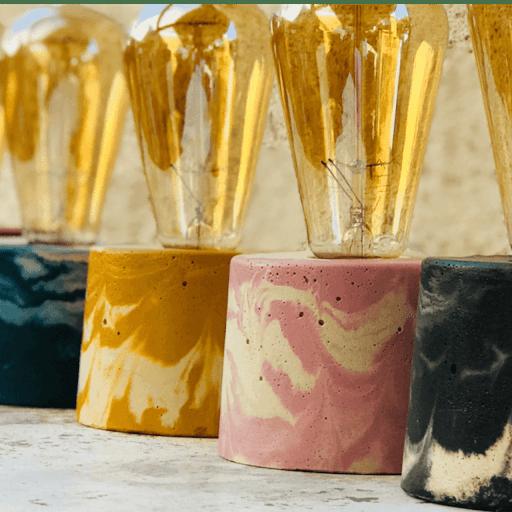 collection lampe béton marbré
