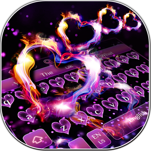 Sparkling Heart Flame Keyboard Theme