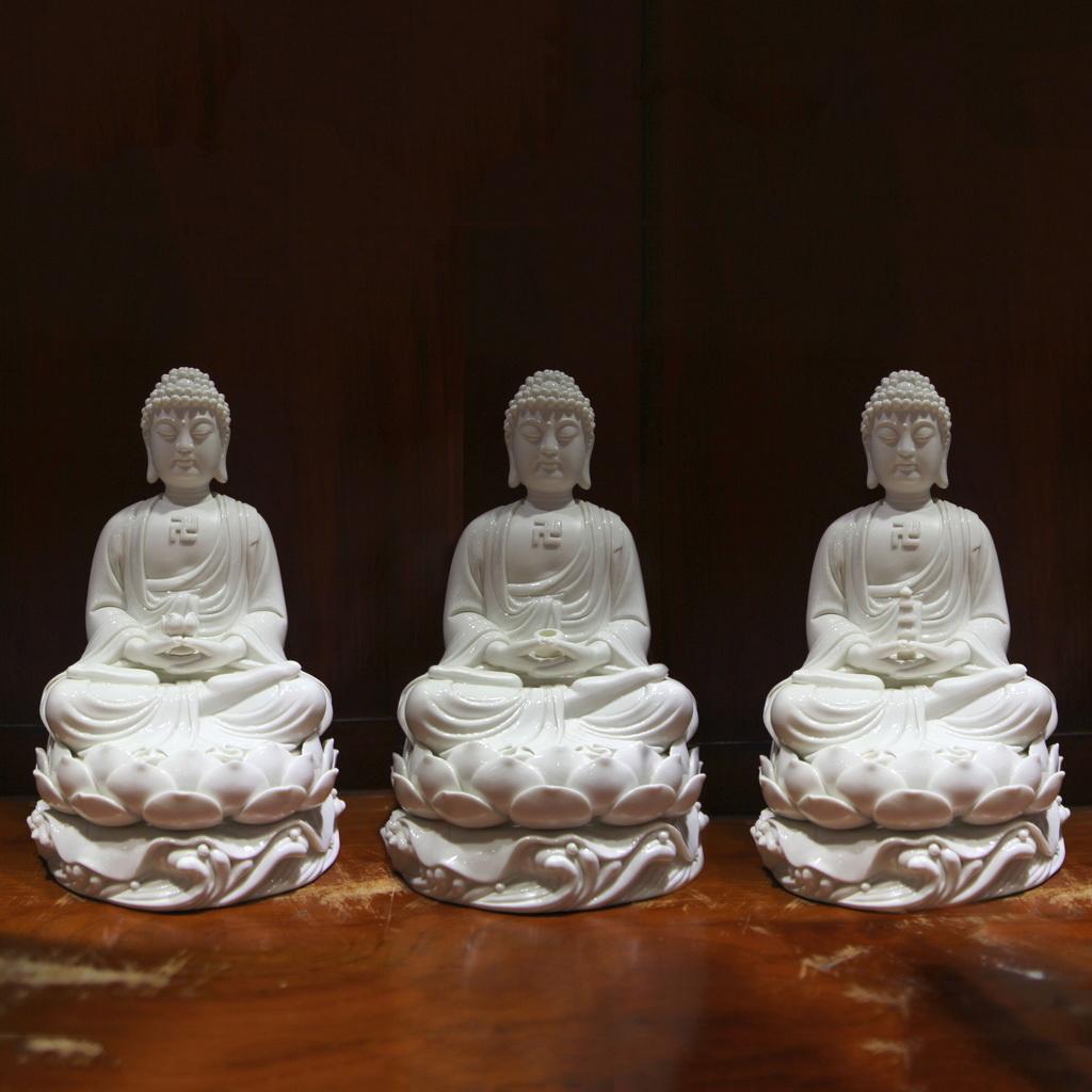 Bộ tượng Tam thế phật sứ trắng cỡ nhỏ