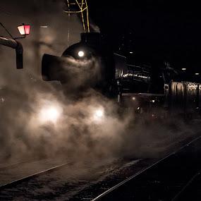 Last train tonight by Ton Hoelaars - Transportation Trains ( winter, steam train, beekbergen, ssn )