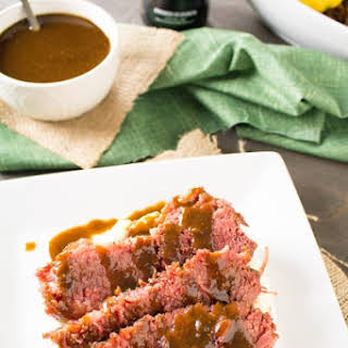 Slow Cooked Corned Beef with Spicy Guinness Gravy and Caramelized Cabbage.