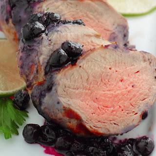 Grilled Pork Tenderloin with Summer Blueberry Sauce.