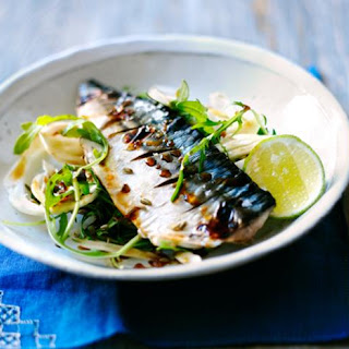 Grilled Mackerel With Soy Lime Dressing.