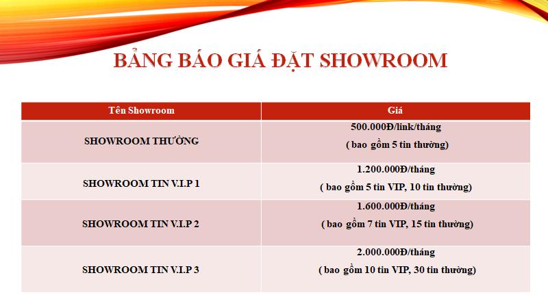 Báo giá các loại hình đặt showroom trên website