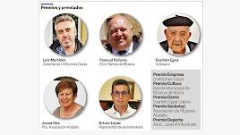 Los cinco protagonistas de los V Premios Los Vélez.